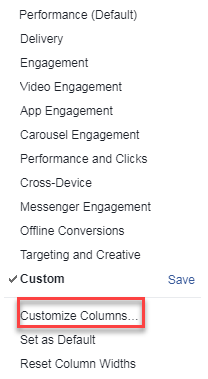 facebook ad manager customize columns