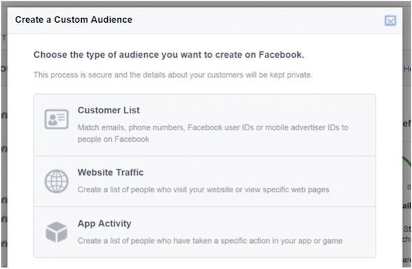 Facebook ad targeting create custom audience