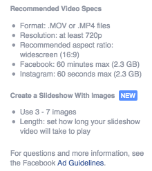 facebook video ad recommended specs