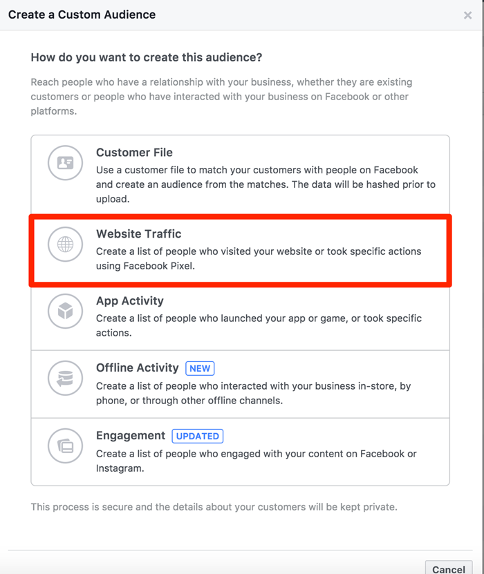 create custom facebook audience based on website traffic