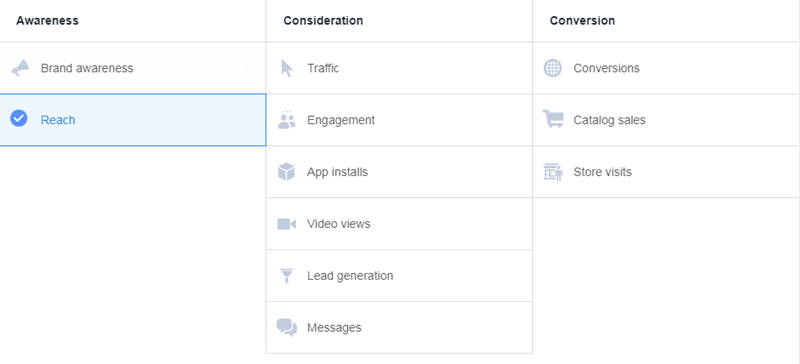 drive in-person purchases with facebook reach campaign goals