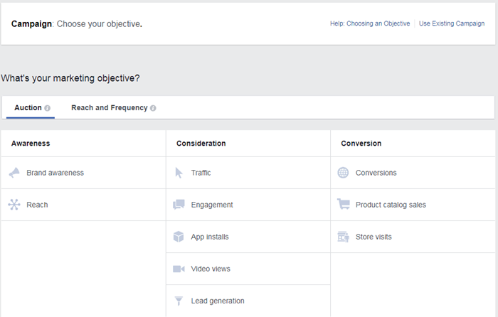 facebook ads manager select campaign objective