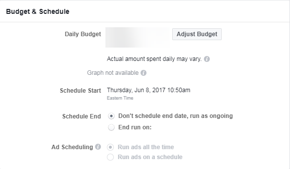 facebook ads review budget screencap
