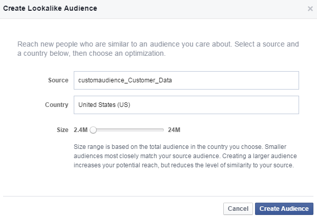 Faceboom advertising cost create lookalike audience
