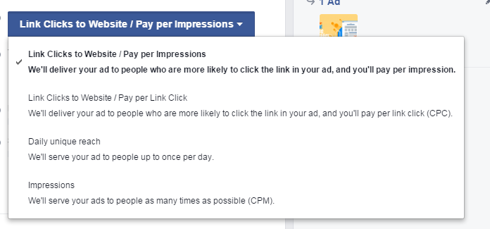 Facebook advertising cost pay per impression