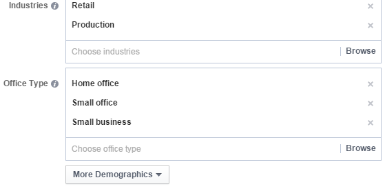 Facebook audience example of industries and office types you can target