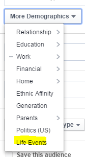 Facebook audience screenshot of demographics you can target including life events