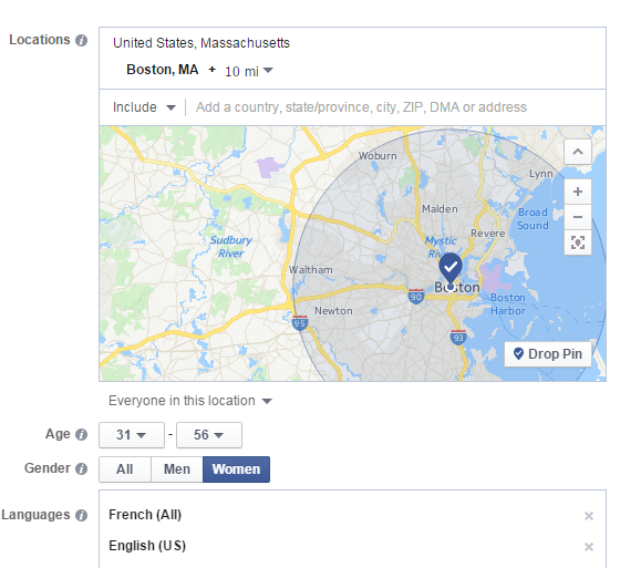 Facebook audience location targeting screenshot