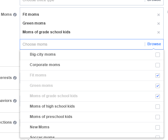 Facebook audience screenshot of types of moms you can target