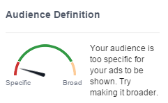 Facebook audience screenshot showing it's too specific