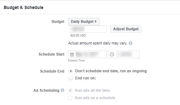 facebook b2b advertising ad scheduling and budgeting at the ad set level