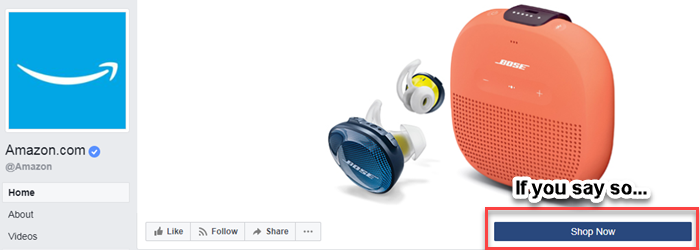 facebook business page shop now button