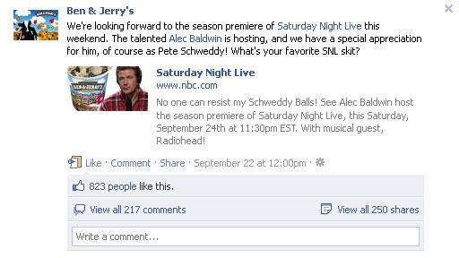 Ben & Jerry on Facebook