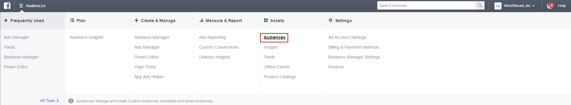 Facebook conversion tracking Business Manager Audiences