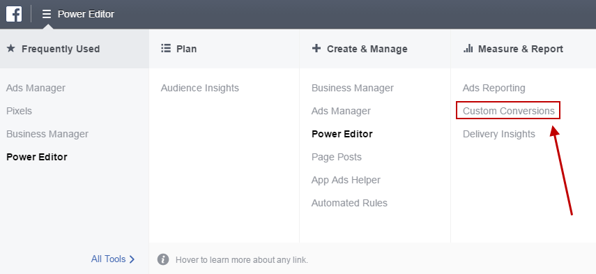 Facebook conversion tracking Business Manager Custom Conversions