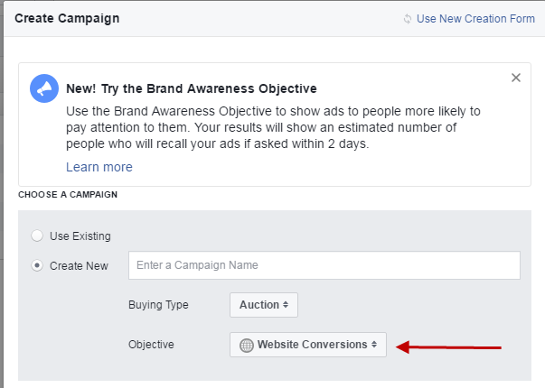 Facebook conversion tracking create brand awareness objective