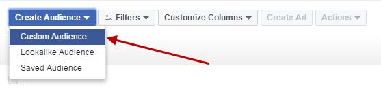 Facebook conversion tracking create custom audience
