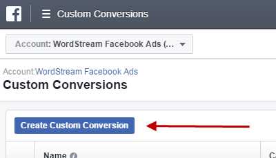 Facebook conversion tracking create custom conversion