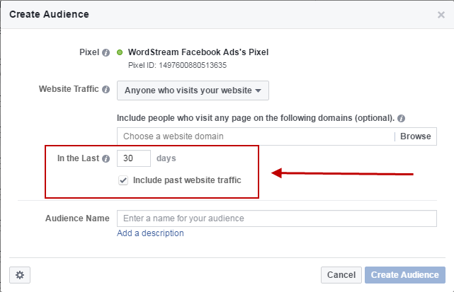 Facebook conversion tracking create timeframe audience