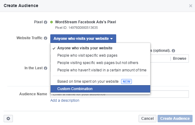 Facebook conversion tracking Custom Combination audience