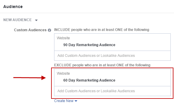 Facebook conversion tracking exclude audience