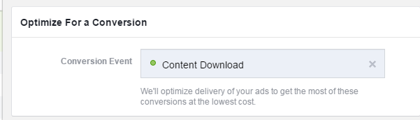Facebook conversion tracking optimize for a conversion