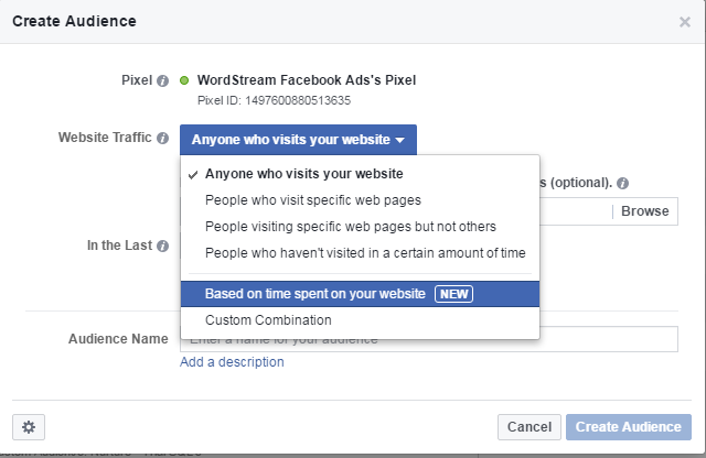 Facebook conversion tracking Time Spent on Site audience