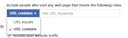 Facebook conversion tracking URL Contains audience