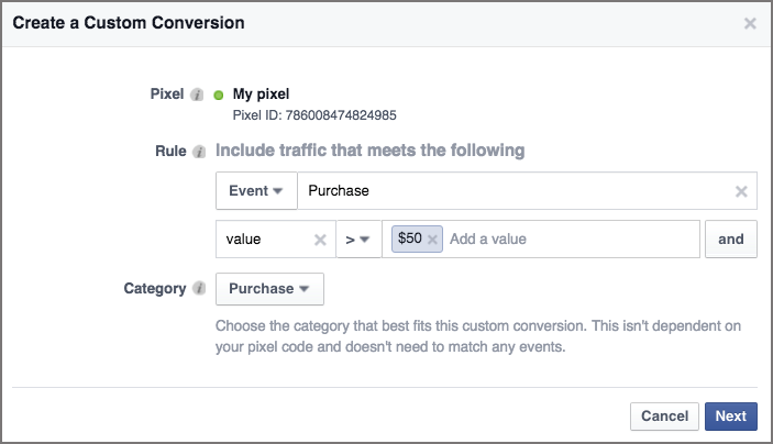create custom facebook conversion event
