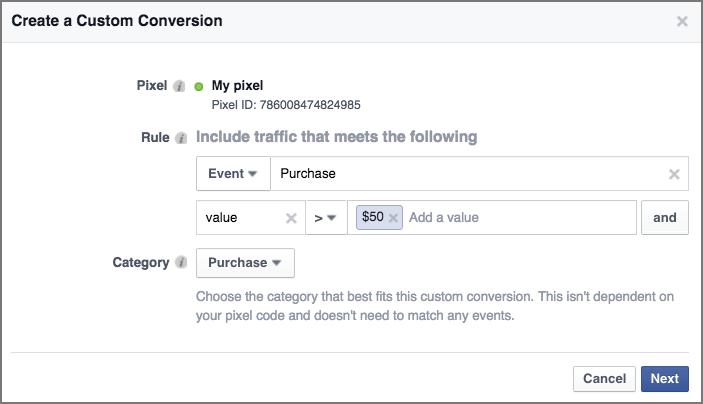 create custom facebook conversion event