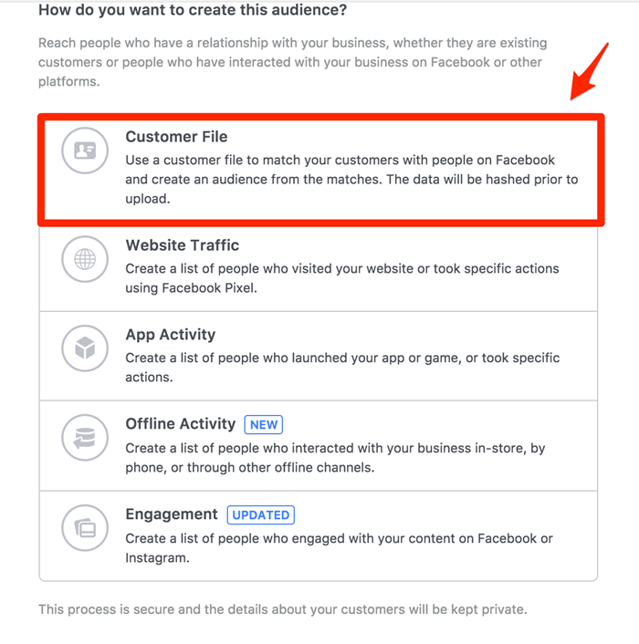 facebook custom audiences customer list upload
