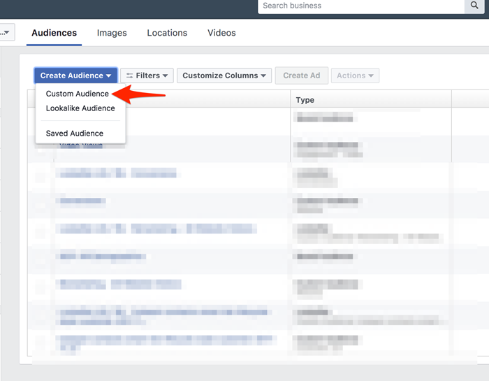 facebook custom audience traffic from specific page