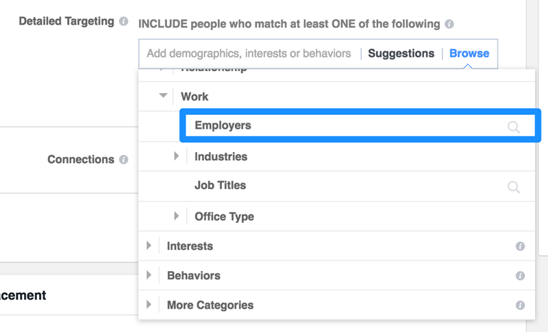 facebook advertising target by employer