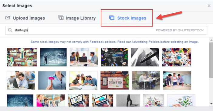 Facebook features stock image library