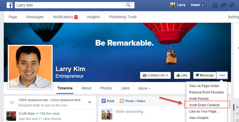 Facebook features invite people to Like page by email