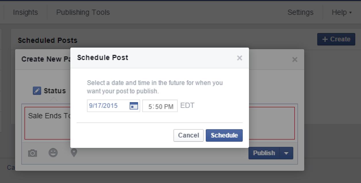 Facebook features schedule posts