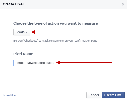 Facebook for lead gen create tracking pixel