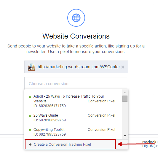 Facebook for lead gen website conversions