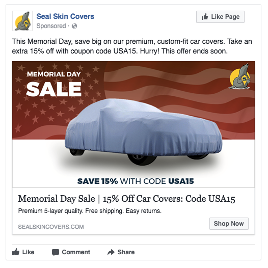 holiday sale facebook ad