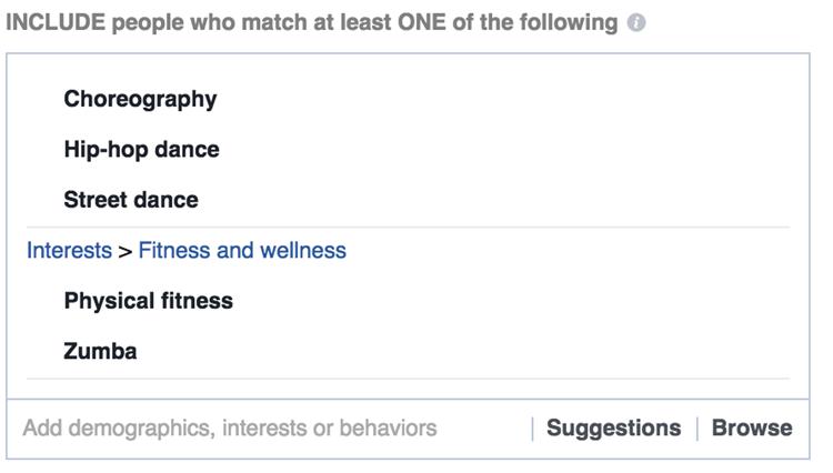 facebook interest targeting wellness activity