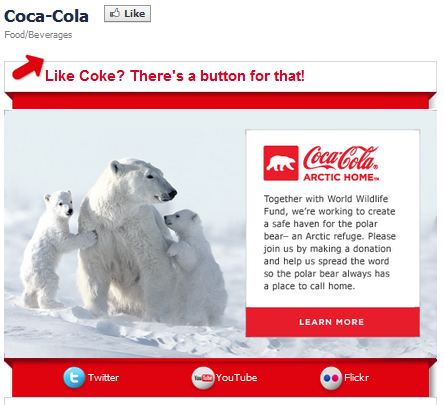 Facebook landing pages Coca Cola example