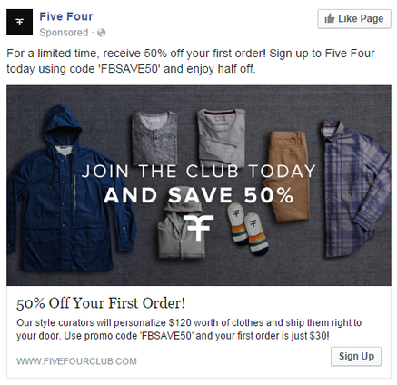 Facebook landing pages Five Four Club ad