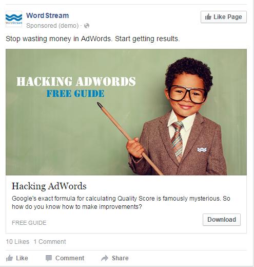 Facebook landing pages WordStream ad