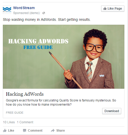 Facebook landing pages WordStream ad