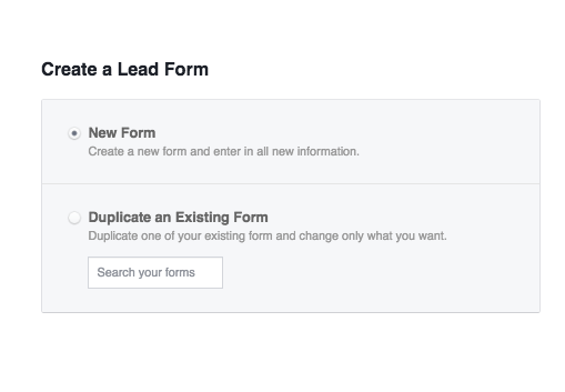 Facebook Lead Ads create new form