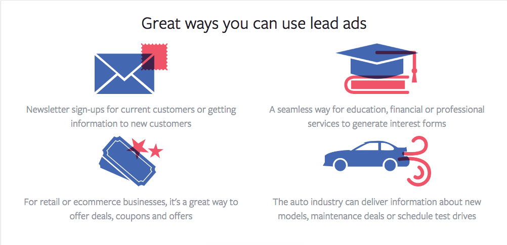 Facebook Lead Ads ways to use