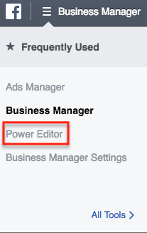 Facebook Lead Ads Power Editor