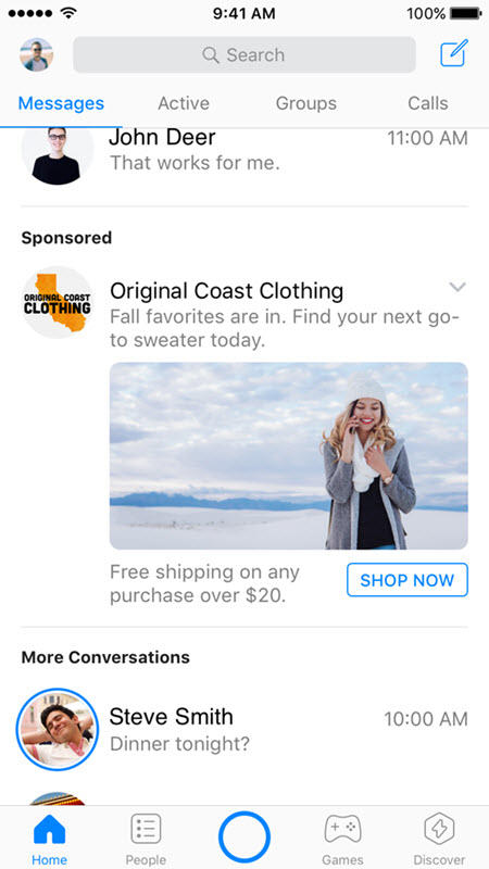 facebook messenger ad types
