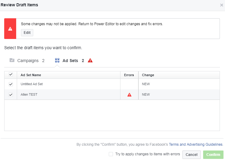 facebook power editor review draft before publishing