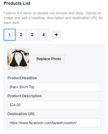 facebook collection ad product list breakdown